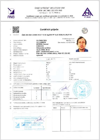 Certifikát páječe