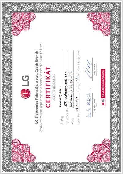 LG certifikát Thema V