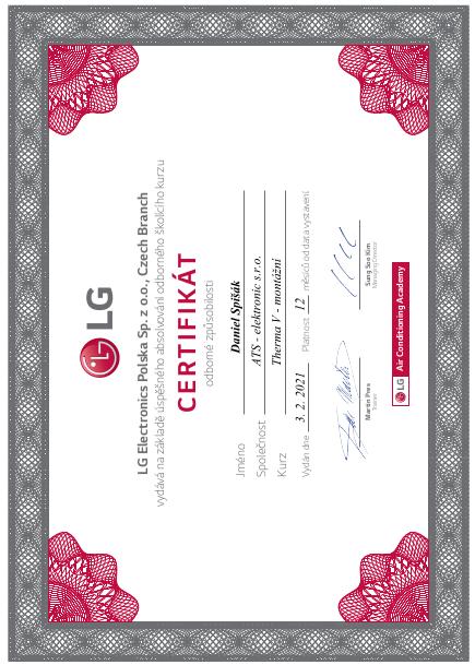 LG certifikát Thema V - montáž