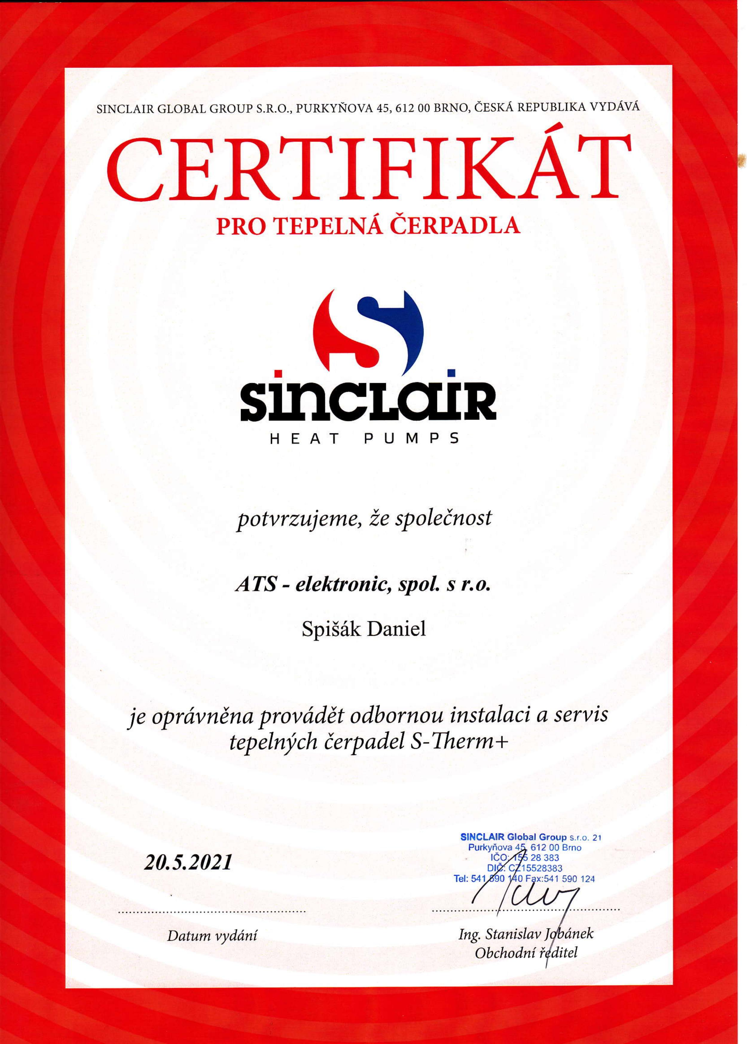 SINCLAIR certifikát montáž S-Therm+